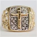 10K Yellow Gold Crucifix Fashion Ring Size 10